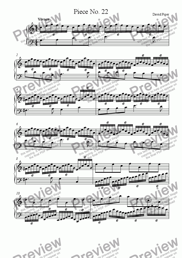 page one of Piece No. 22