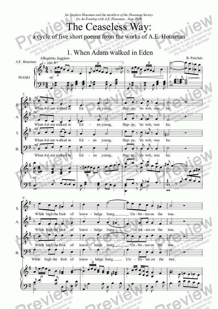 page one of The Ceaseless Way (for Choir and Baritone solo)