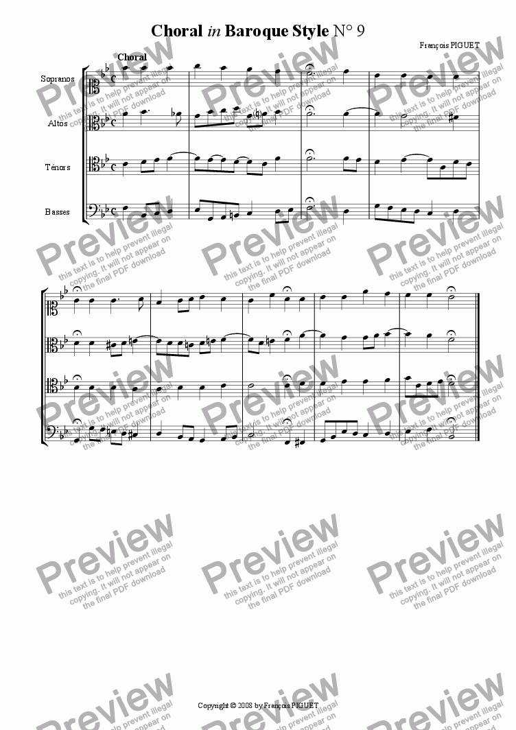 page one of Choral in Baroque Style N� 9b