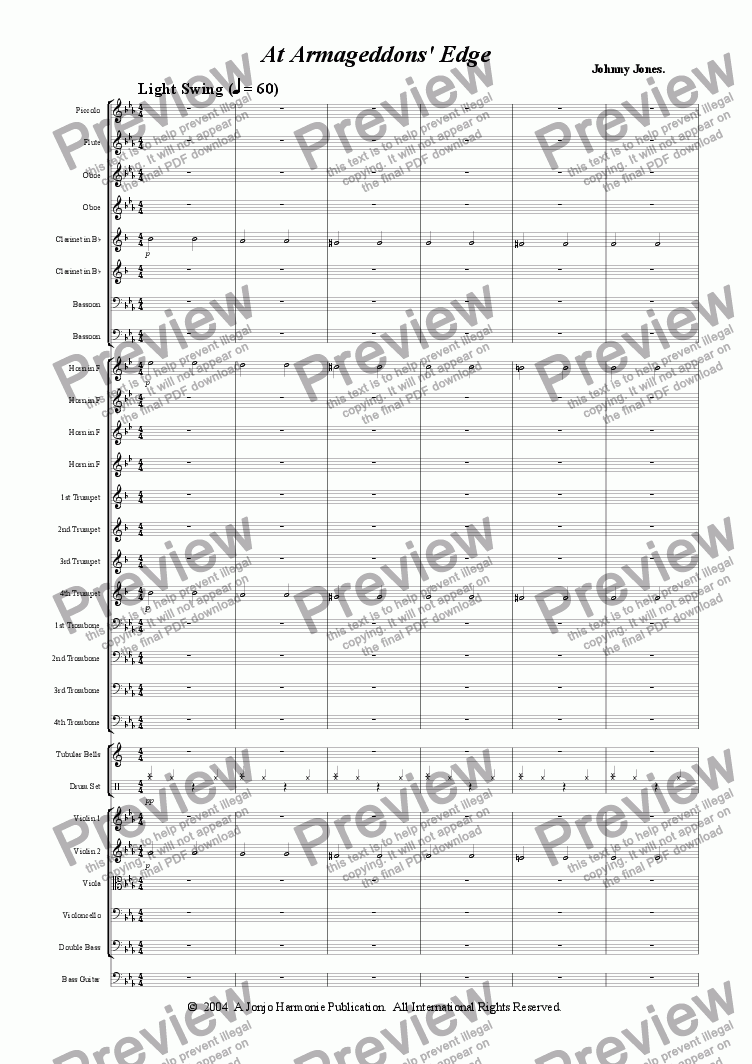 "page one of At  Armageddons'  Edge   ""Futuristic Orchestral"""