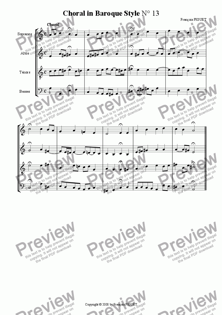 page one of Choral in Baroque Style N� 13