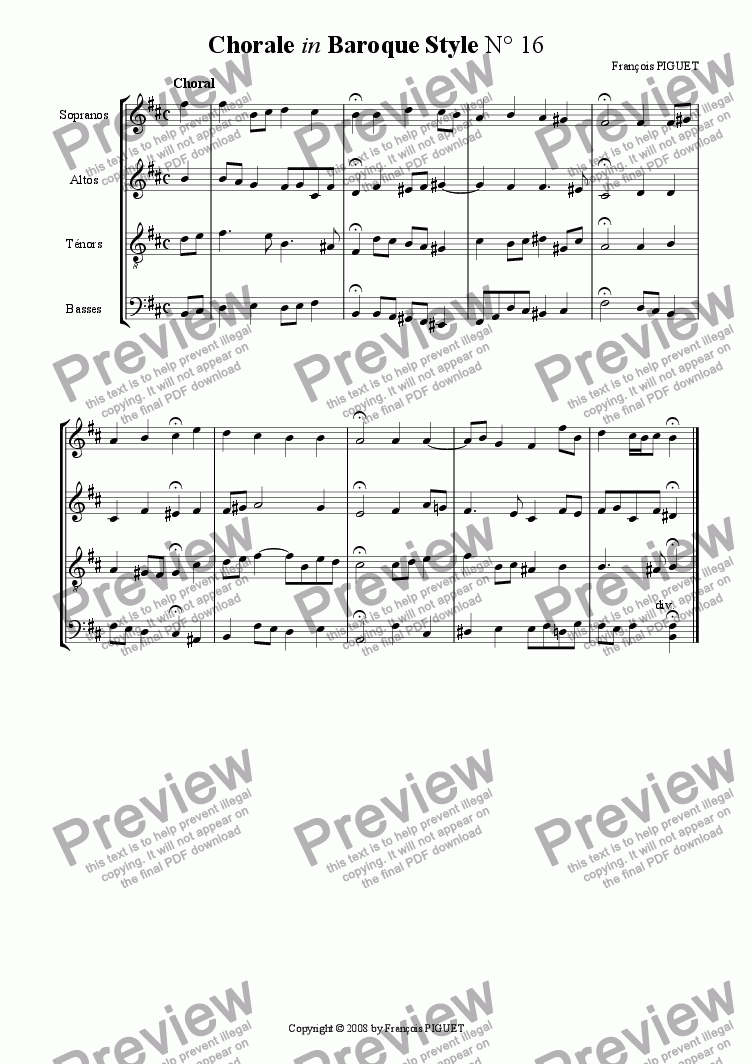 page one of Chorale in Baroque Style N� 16