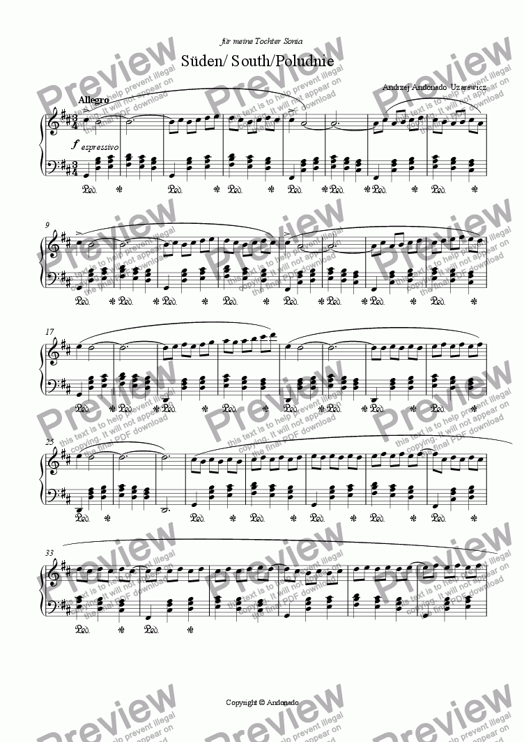 page one of S�den  /South piano version