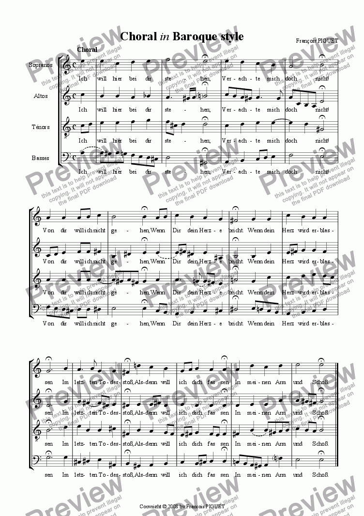 "page one of ""Ich bin hier"" Choral in Baroque style"