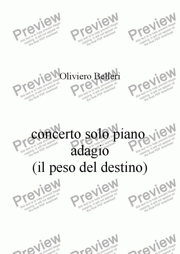 page one of concerto per solo piano adagio