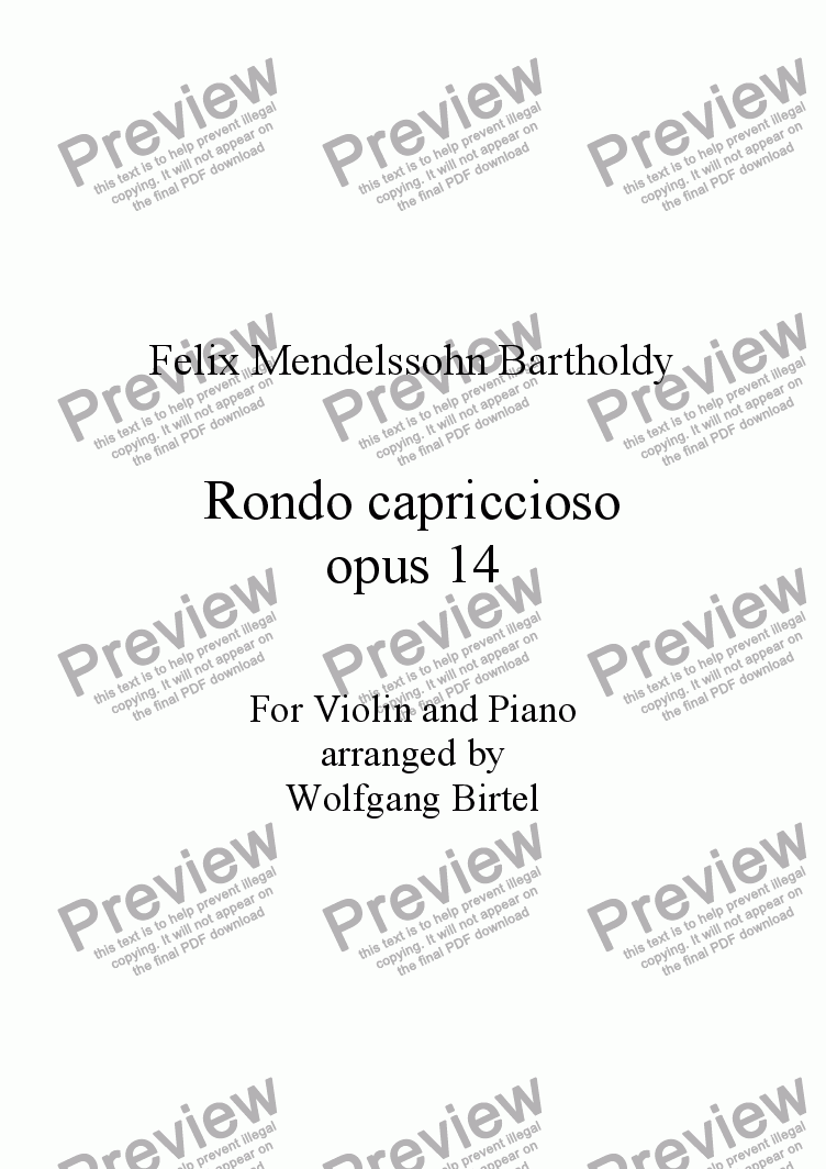 page one of Rondo capriccioso, op. 14 (Violin + Piano)