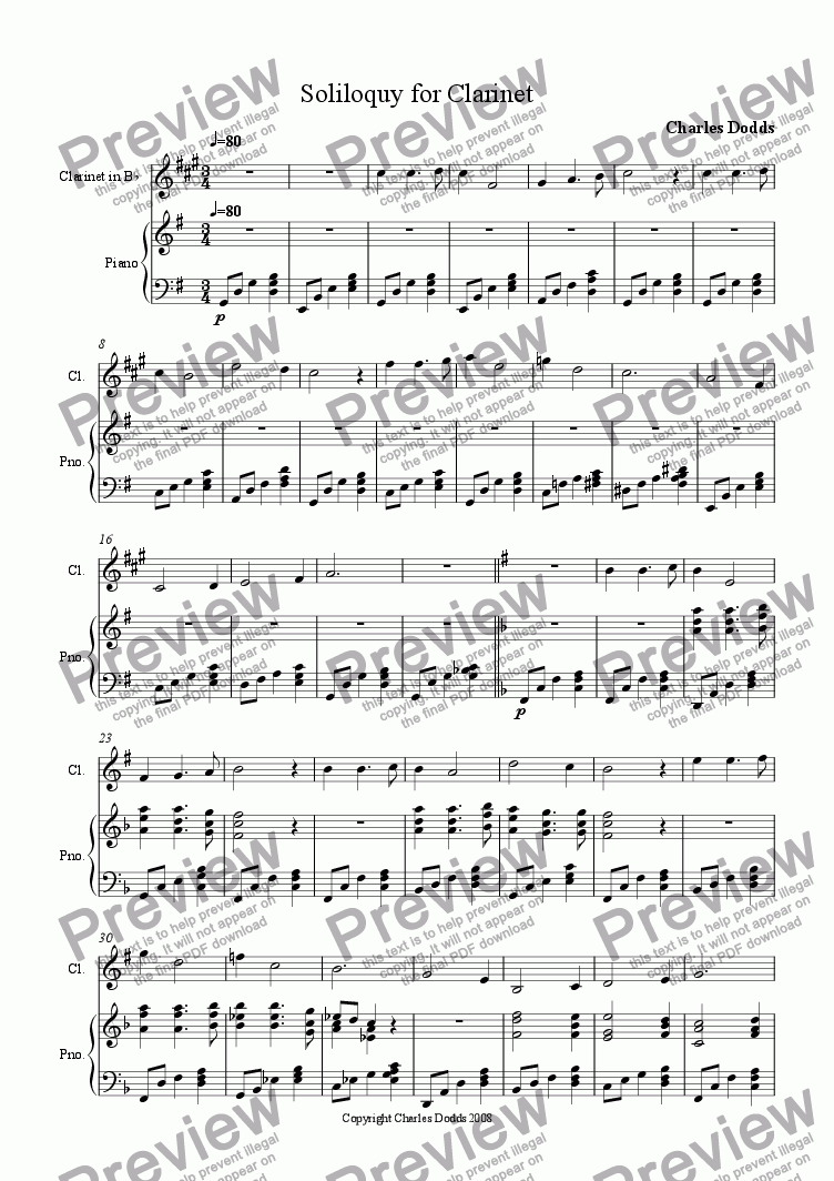 page one of Soliloquy for ClarinetASALTTEXT