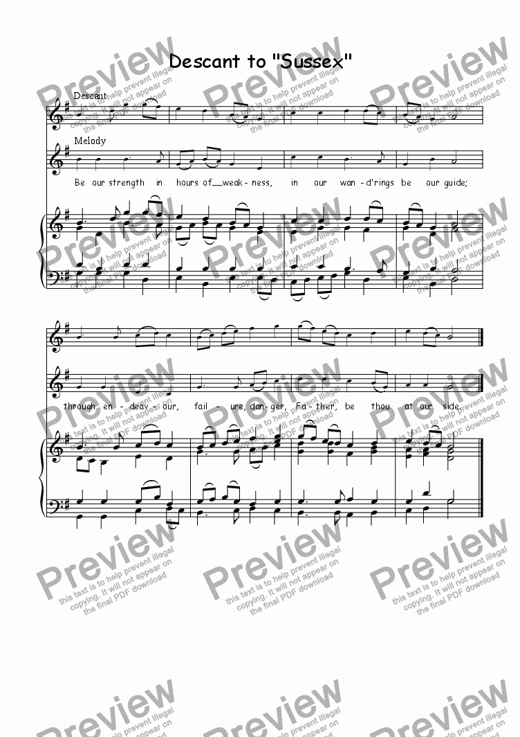 page one of Descant (vocal/instrumental) to SussexASALTTEXT