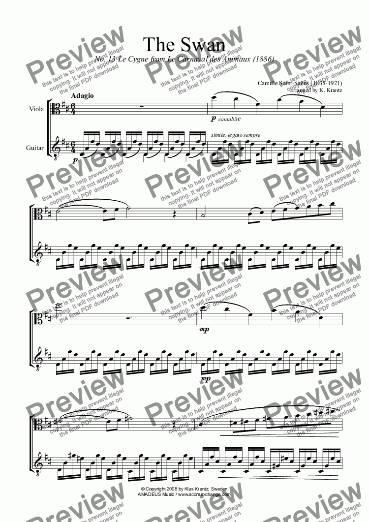 page one of The Swan / Le Cygne for viola and guitar
