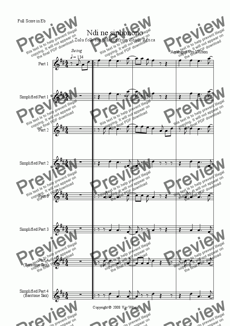 page one of 'NDI NE SIPHONONO' for Eb instruments. Polyphonic. (South African)