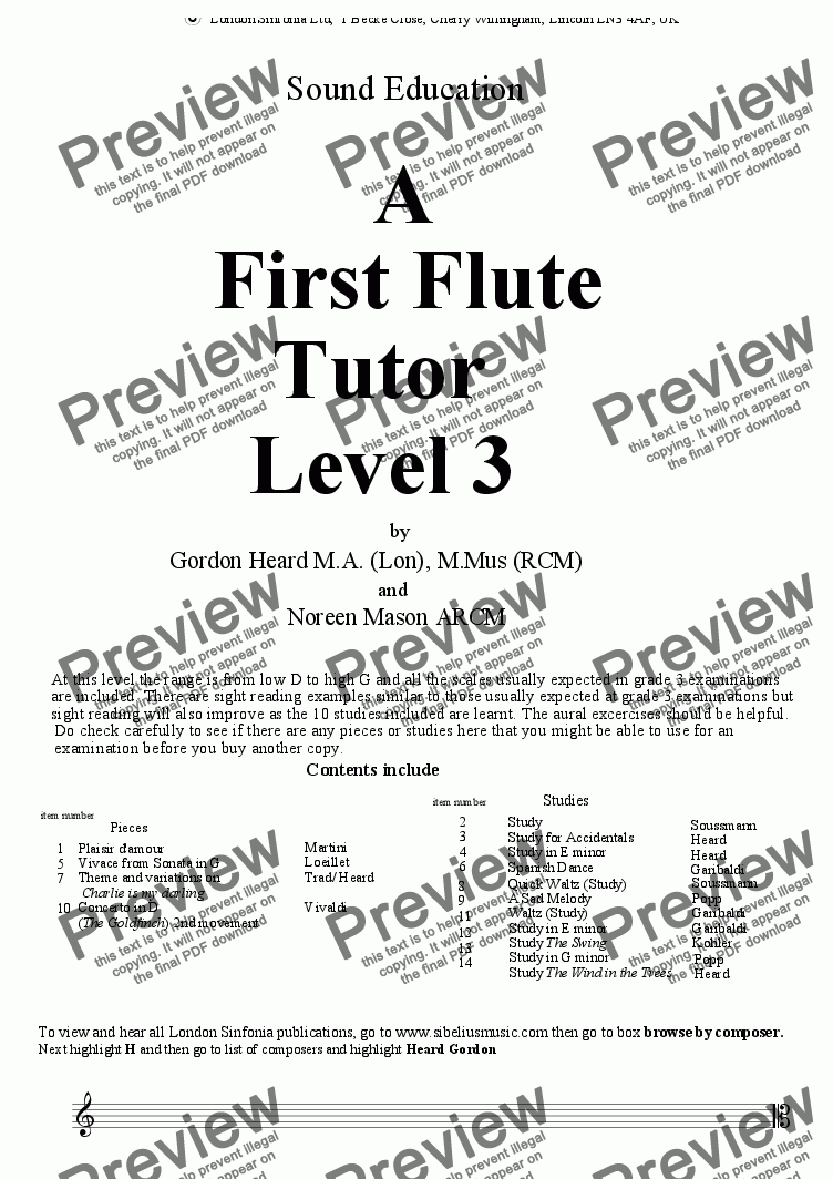 page one of A 1st Flute Tutor Level 3