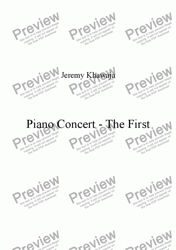 page one of Piano Concert - The FirstASALTTEXT
