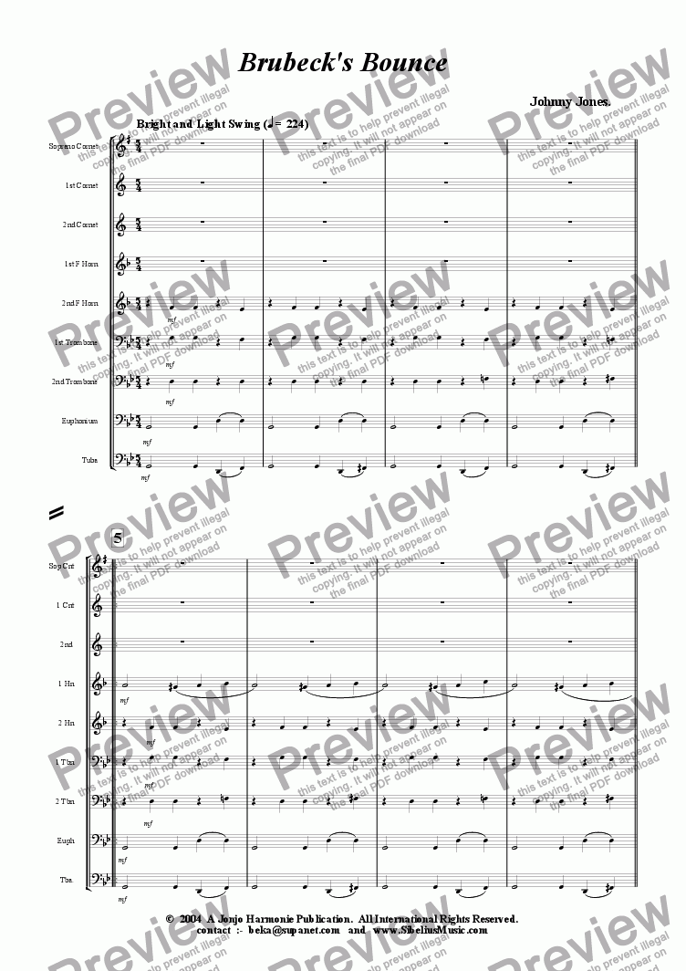 page one of Brubeck's Bounce   (Swing  9 Brass)
