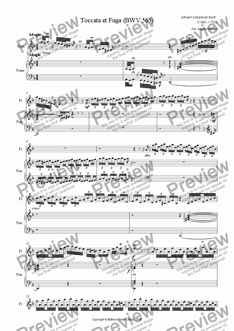 page one of Toccata and fugue (BWV 565)