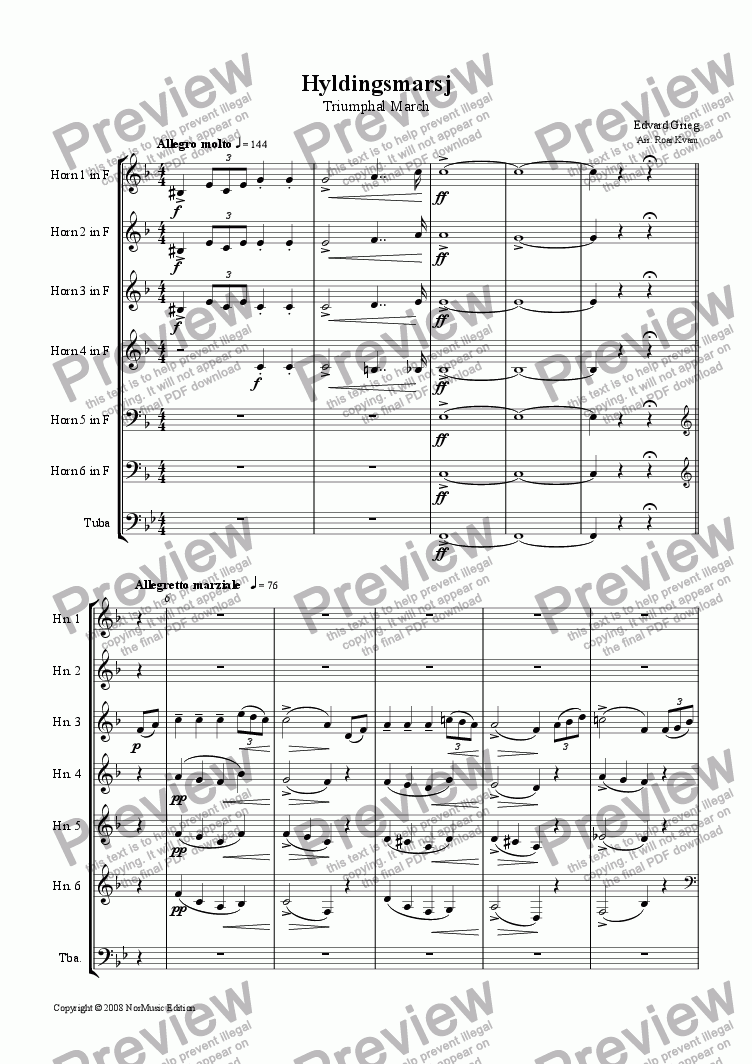 page one of Grieg: Hyldingsmarsj/Triumphal March (6 Horns and Tuba)
