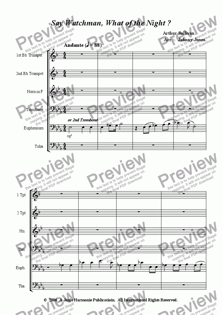page one of Say Watchman, What of the Night ?   ( School 6 Brass + )