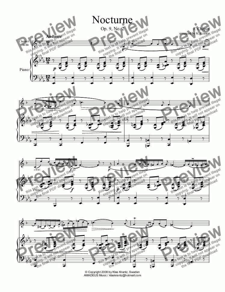 page one of Nocturne op. 9 No. 2 for clarinet in Bb and easy piano