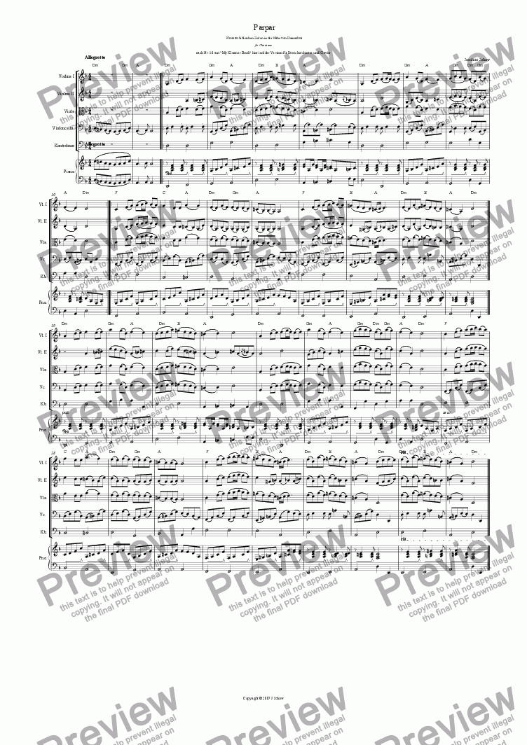 page one of Parpar Project 01 (String Orchestra and Piano)