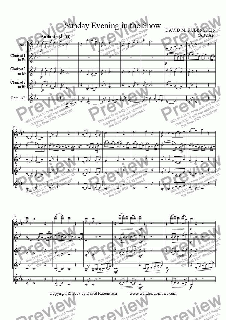 page one of Sunday Evening in the Snow (for flute, 3 clarinets and horn)