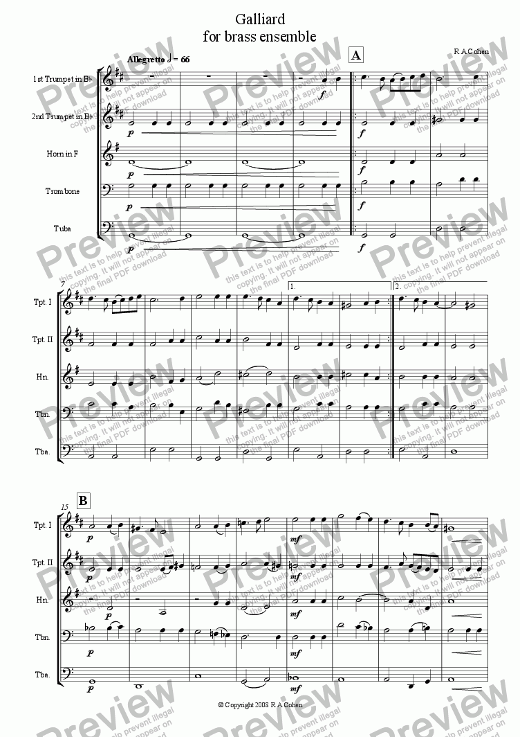 page one of GALLIARD - for brass ensemble