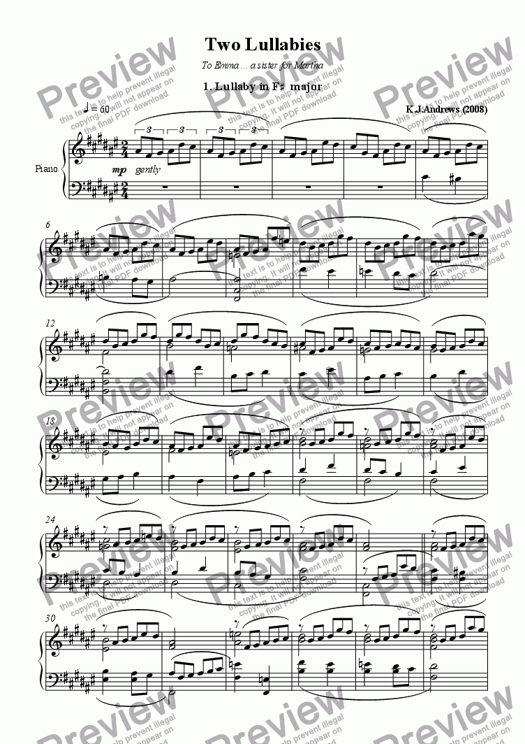 page one of 2 Lullabies: 1.Lullaby in F-sharp major
