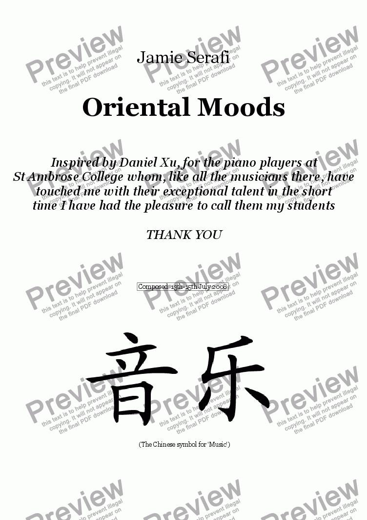 page one of Oriental Moods