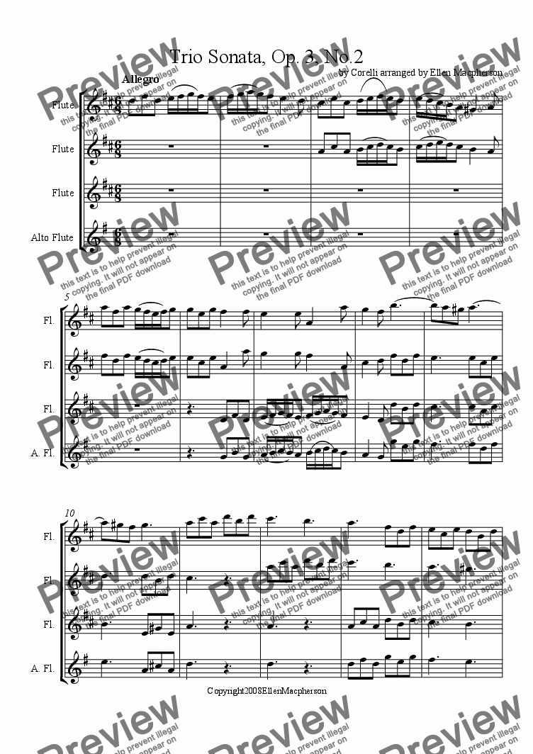 page one of Trio Sonata, Op.3 No.2 by Arcangelo Corelli, arranged for Flute Ensemble