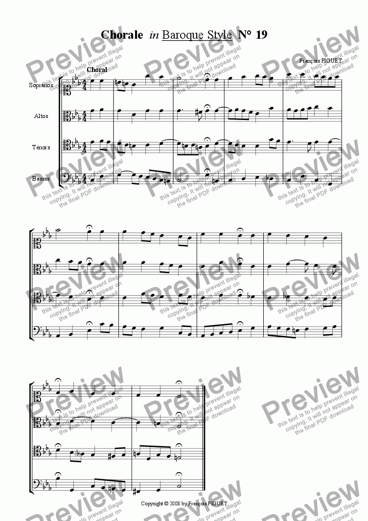 page one of Chorale in Baroque Style N� 19b
