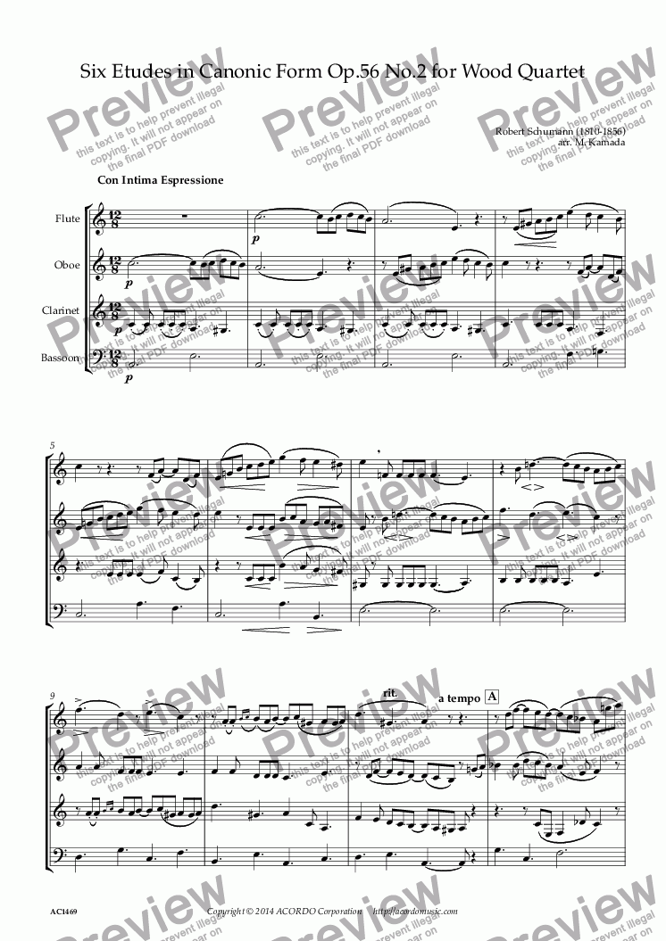 page one of Six Etudes in Canonic Form Op.56 No.2 for Wood Quartet