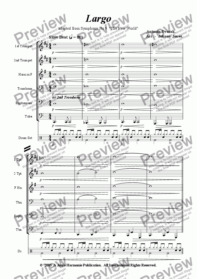 "page one of Largo from  ""The New World""  (Slow Beat, 6 + Brass and Drums)"