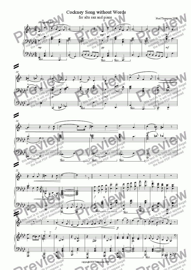page one of Cockney Song Without Words No.3 - Alto Sax & Piano - now with sax part