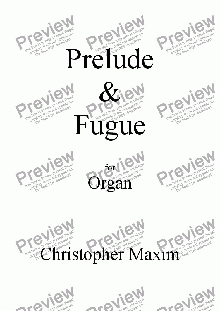 page one of Prelude & Fugue (Organ solo)