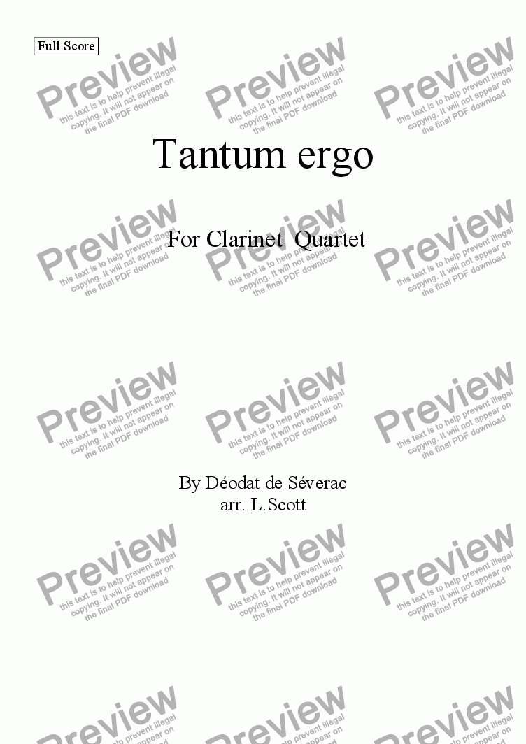 page one of Tantum ergo for Clarinet Quartet