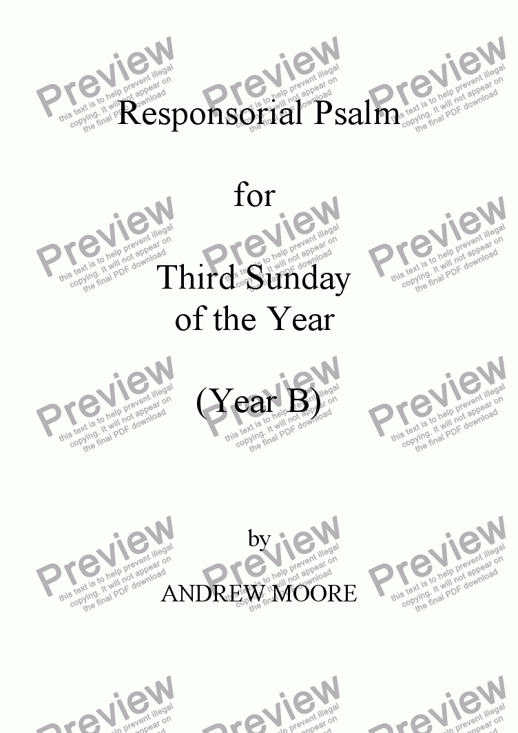 page one of Third Sunday of the Year (B)
