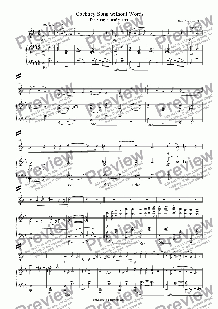 page one of Cockney Song Without Words No.3 Trumpet & Piano