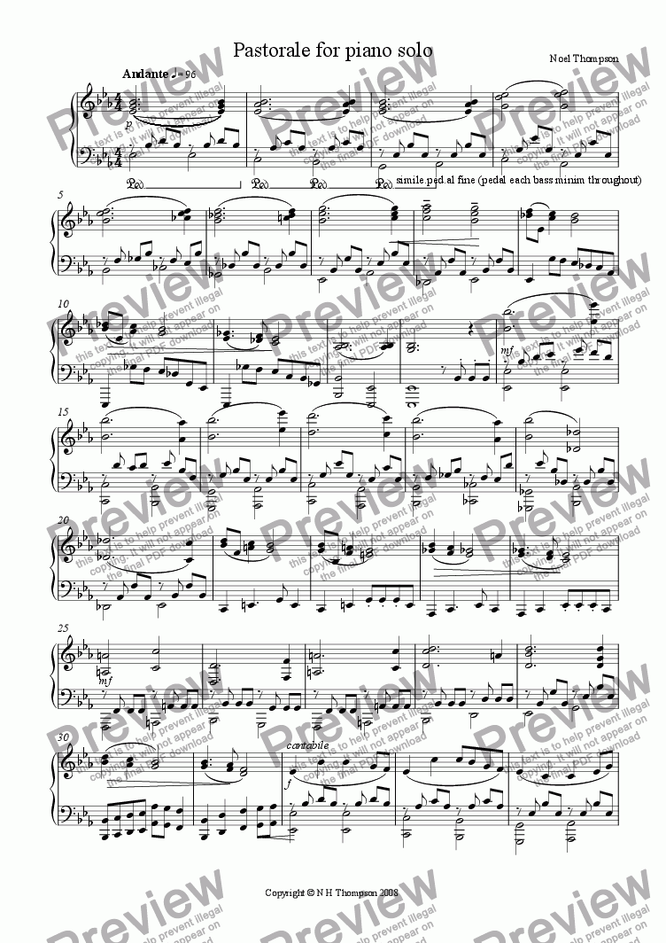 page one of Pastorale for piano solo - re-edited