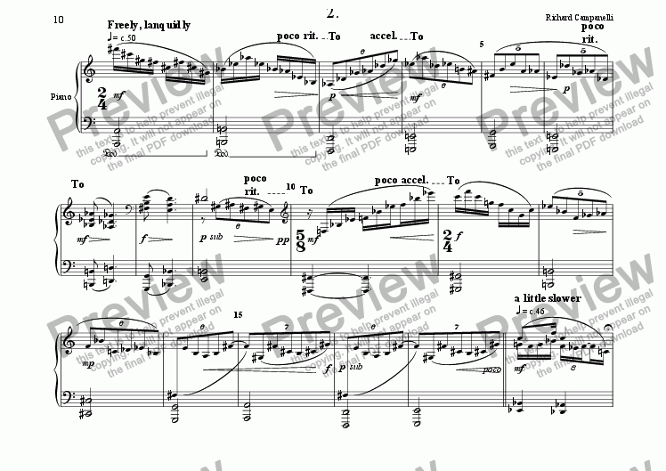 page one of Sonatina for Piano, 2cd movement