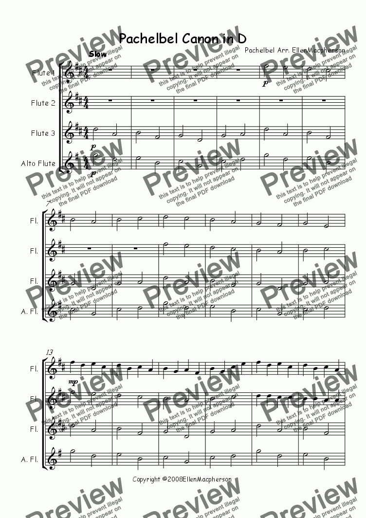 page one of Pachelbel Canon in D for Flute Ensemble