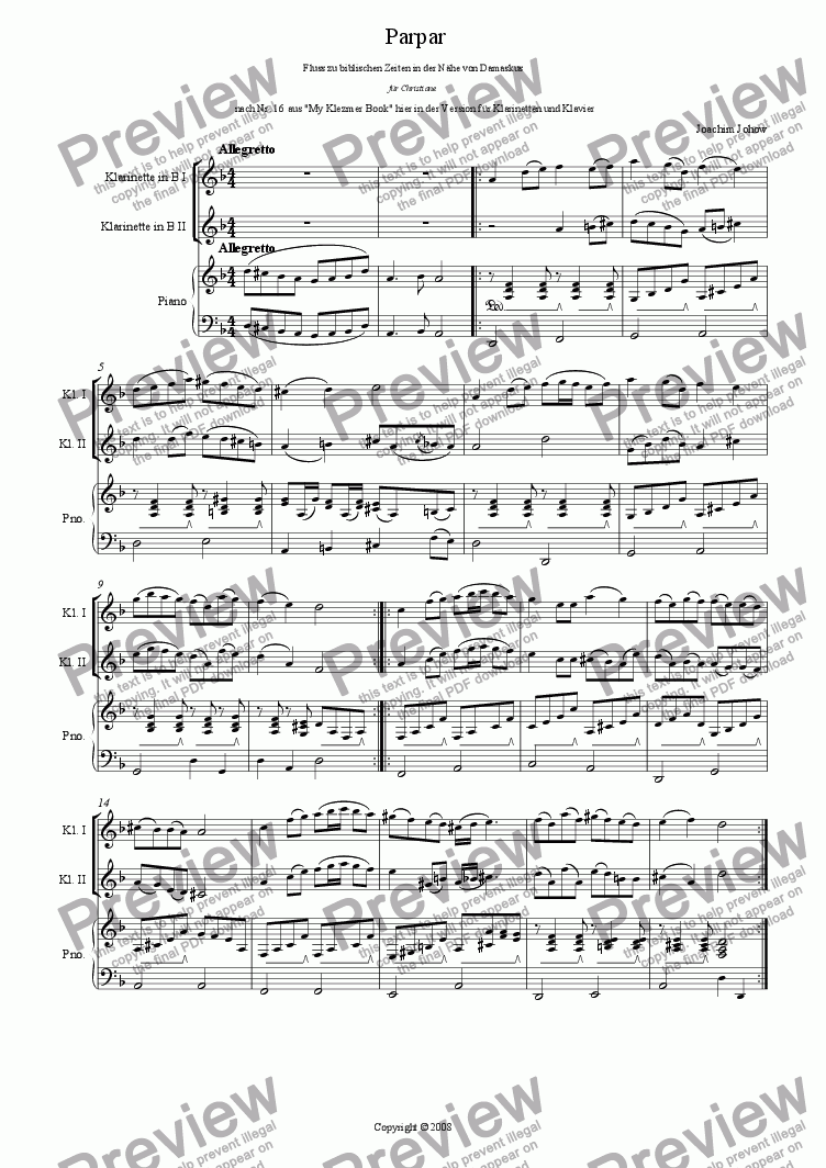 page one of Parpar Project 07 (1 or 2 Clarinets B and Piano)