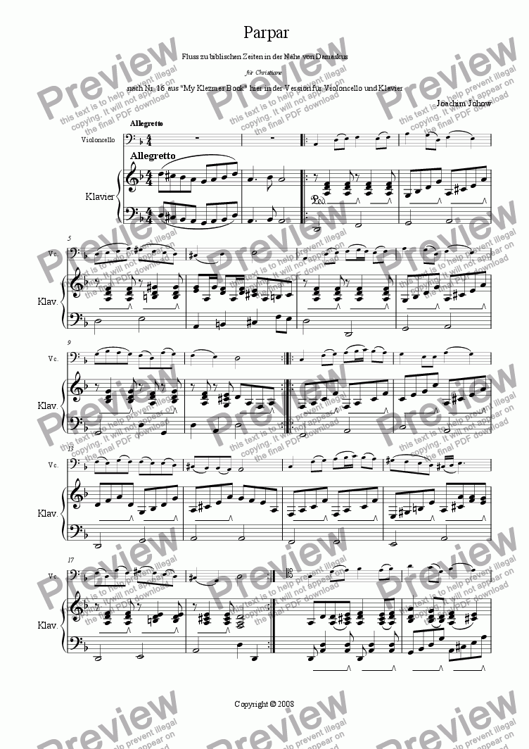 page one of Parpar Project 08 (Violoncello Piano)