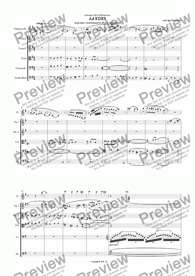 page one of Ad EDES (juvenilia, string orchestra + clarinet)
