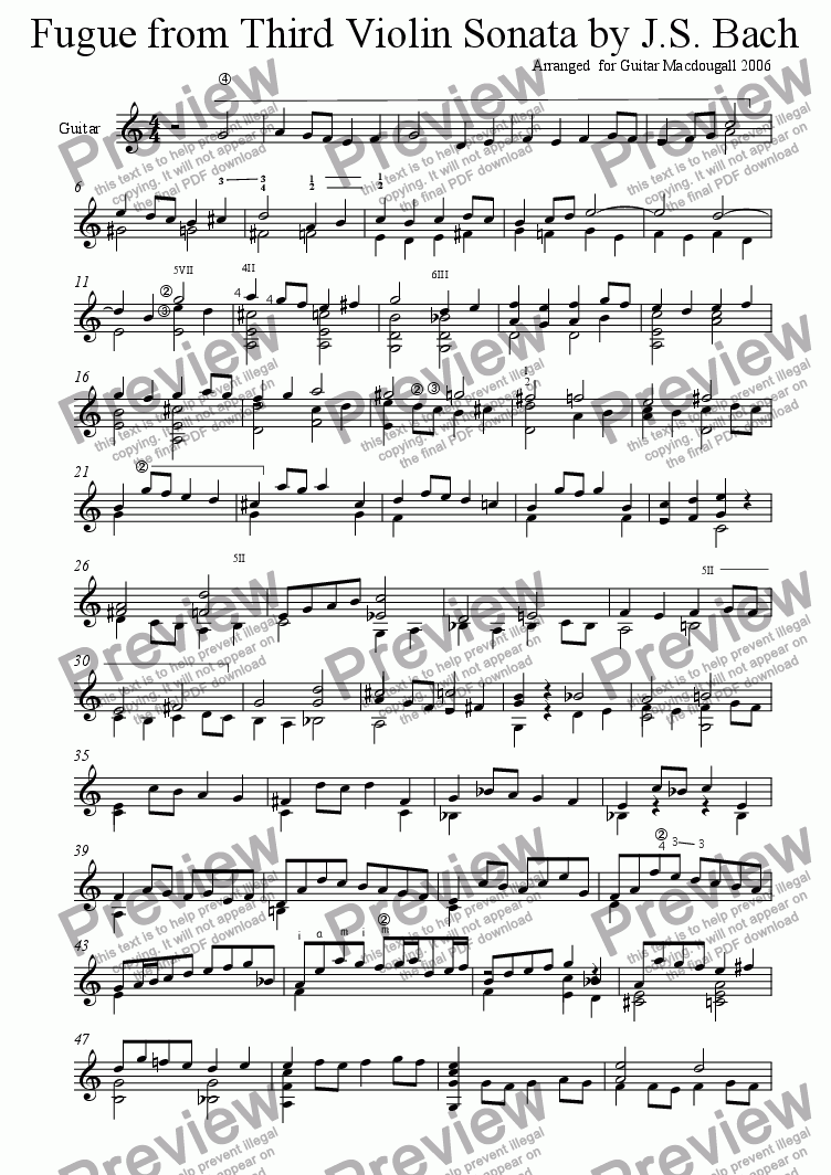 page one of Fugue from 3rd Violin Sonata