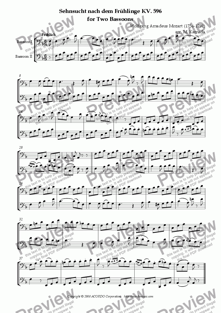 "page one of ""Sehnsucht nach dem Frühling"" KV.596 for Two Bassoons"