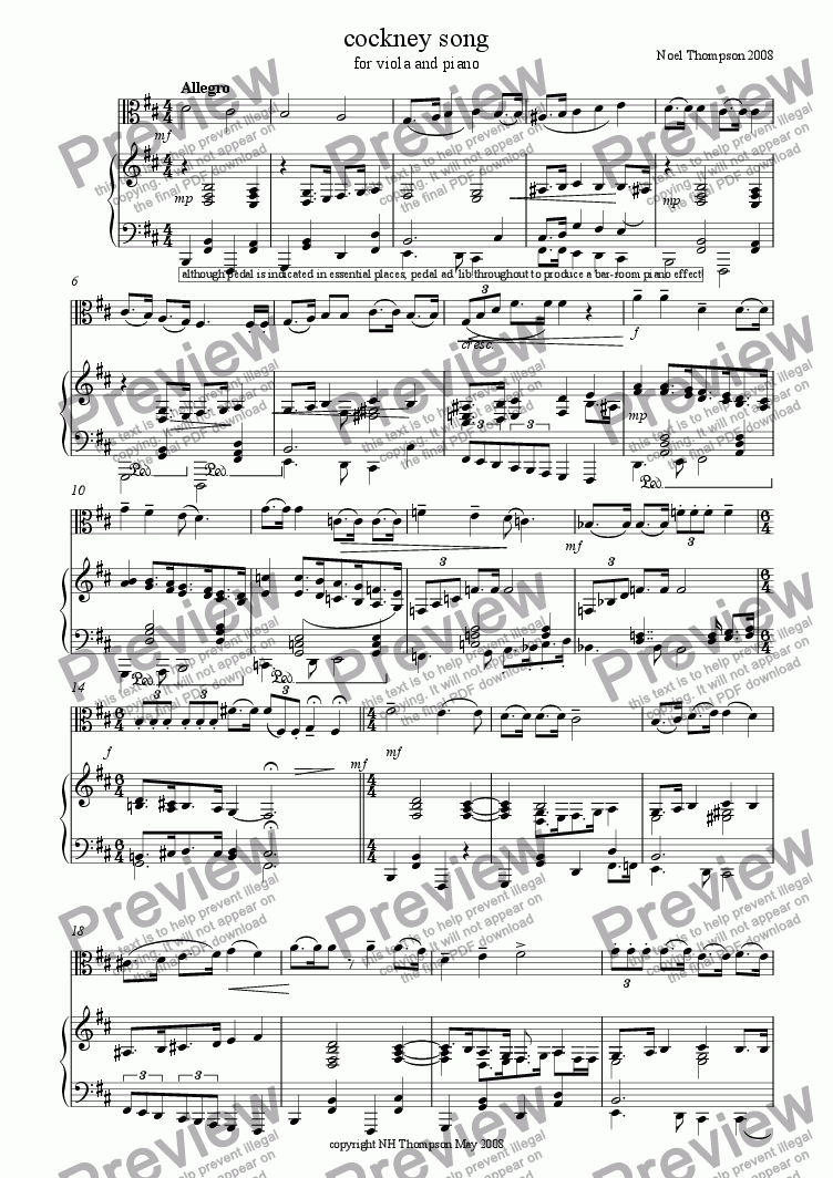 page one of Cockney Song -Viola and Piano