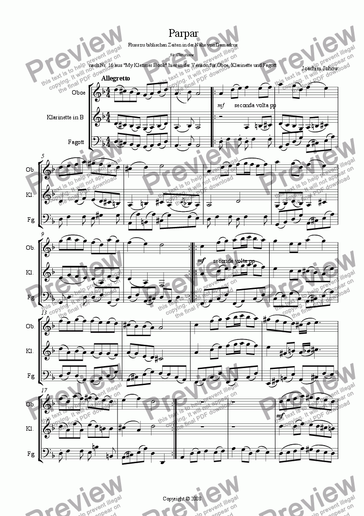 page one of Parpar Project 21 (Oboe, Clarinet, Bassoon)