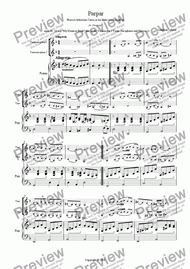 page one of Parpar Project 19 (1-2 Ten Sax Piano)