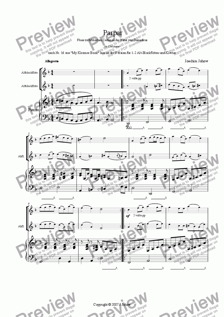 page one of Parpar Project 23 (1-2 Alto Recorders Piano)