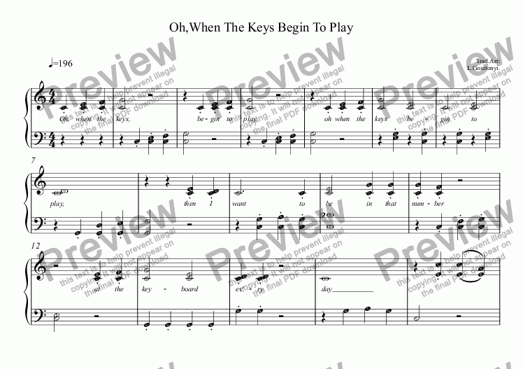 page one of Oh, When The Keys Begin To Play (Piano Solo)