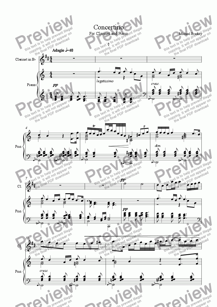 page one of Concertino - 1st Movement