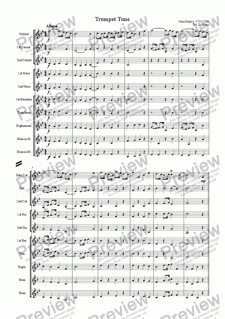 page one of Trumpet Tune [Stanley]